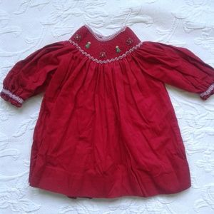 Petit Ami Christmas Dress Smocked Red Trees Flower